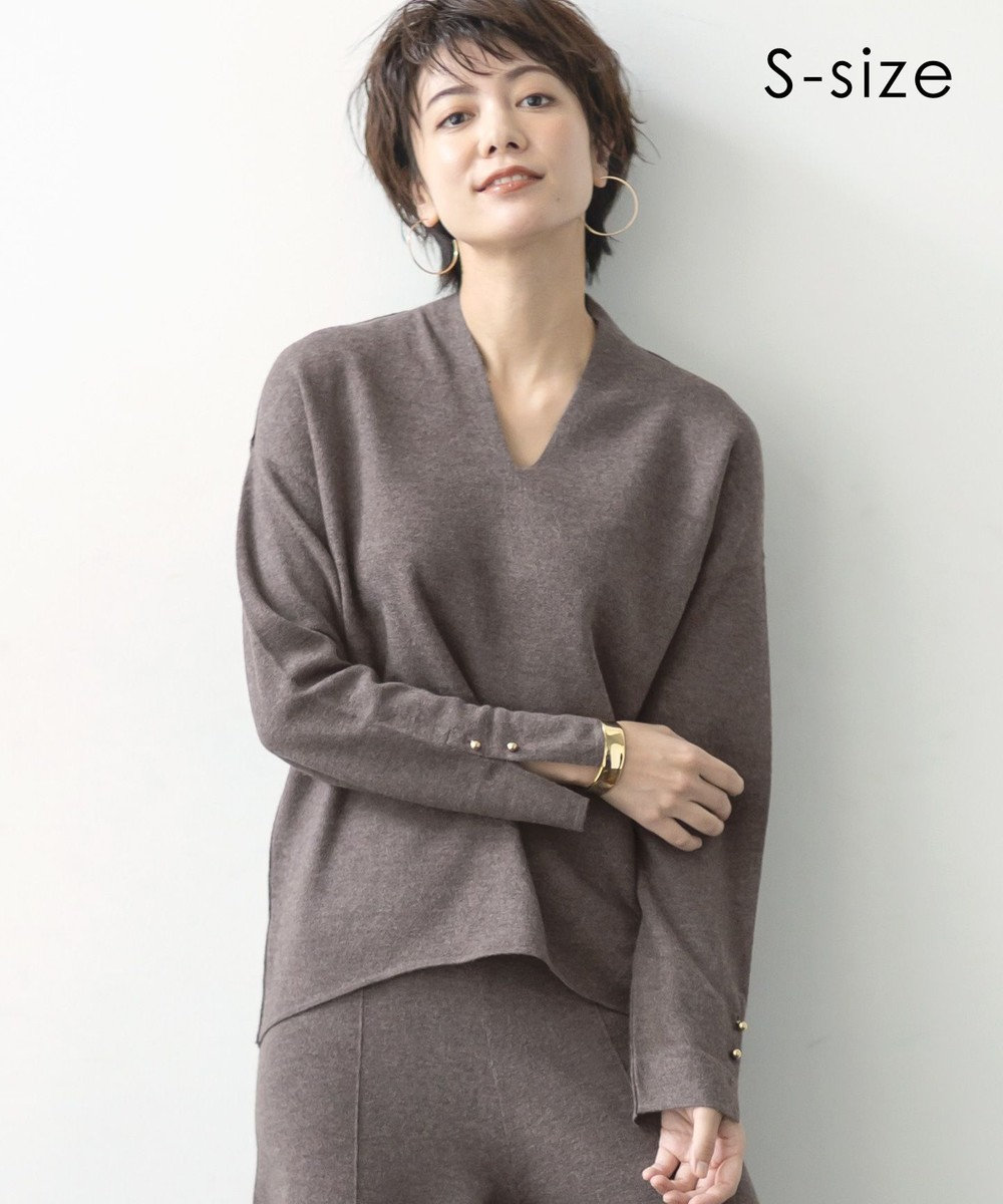 BEIGE, 【STORY11月号掲載】【S-size】LISS / Vネックニット Taupe