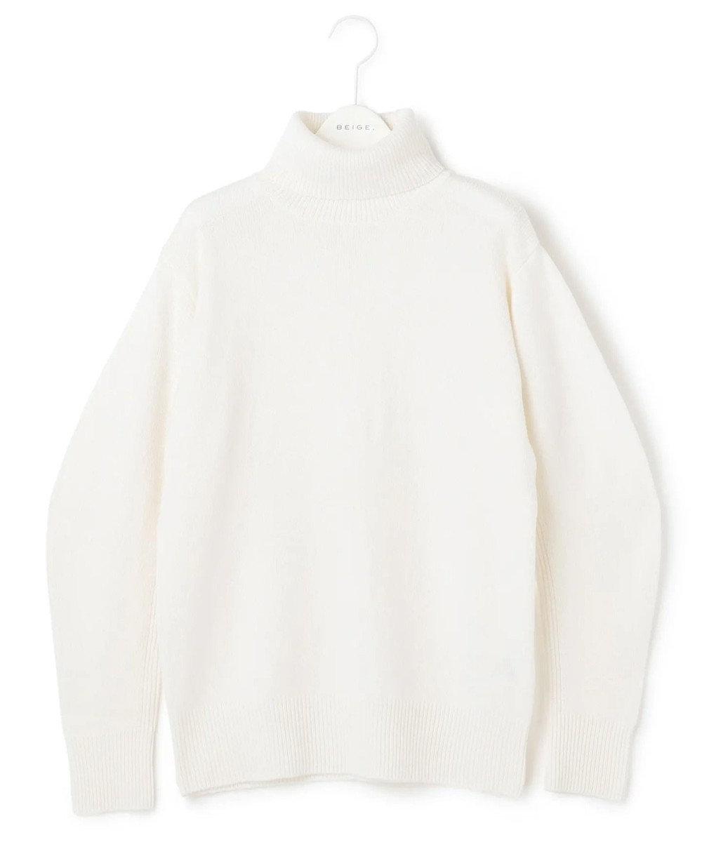 BEIGE, 【S-size】ENSIS / ハイネックニット Off White