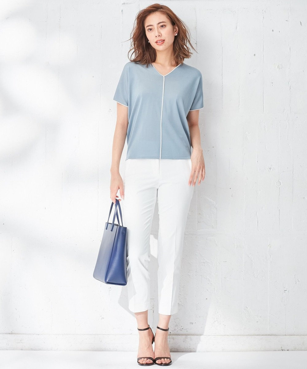 ICB 【WEB限定カラー】Synthetic Yarn 半袖ニット ブルー系