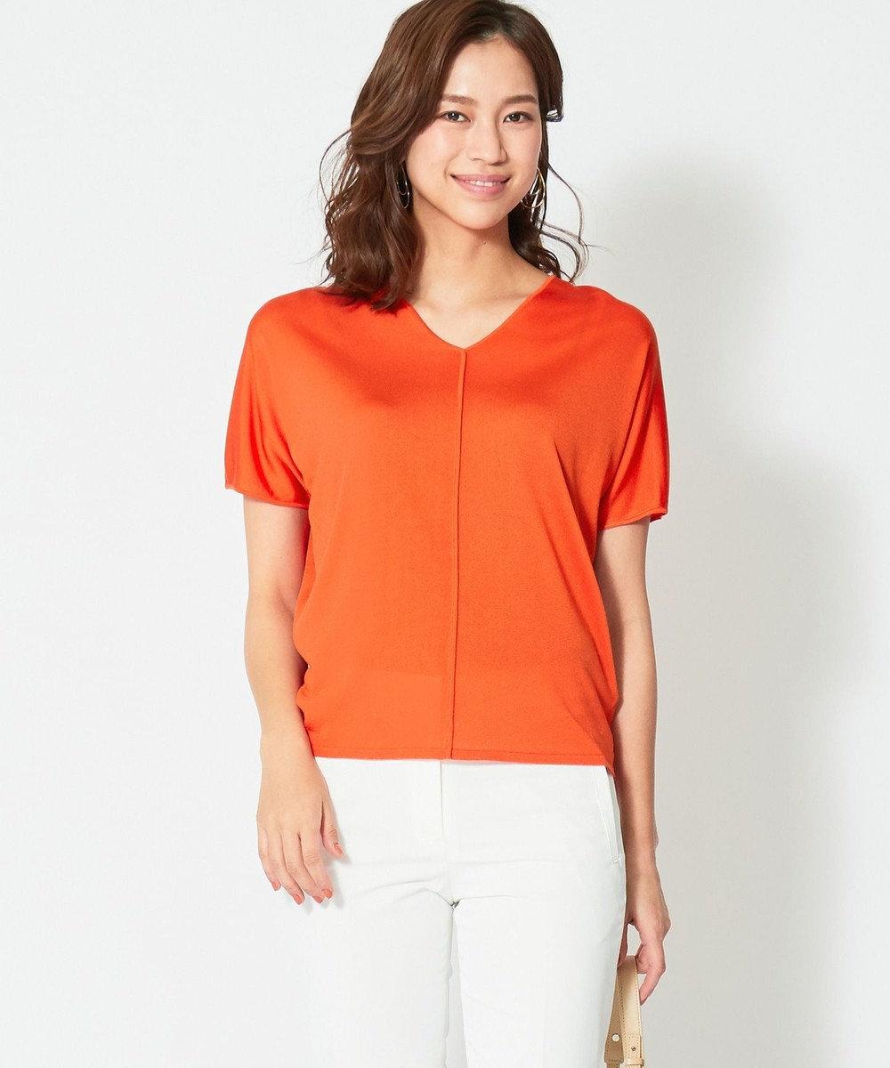 ICB 【WEB限定カラー】Synthetic Yarn 半袖ニット オレンジ系