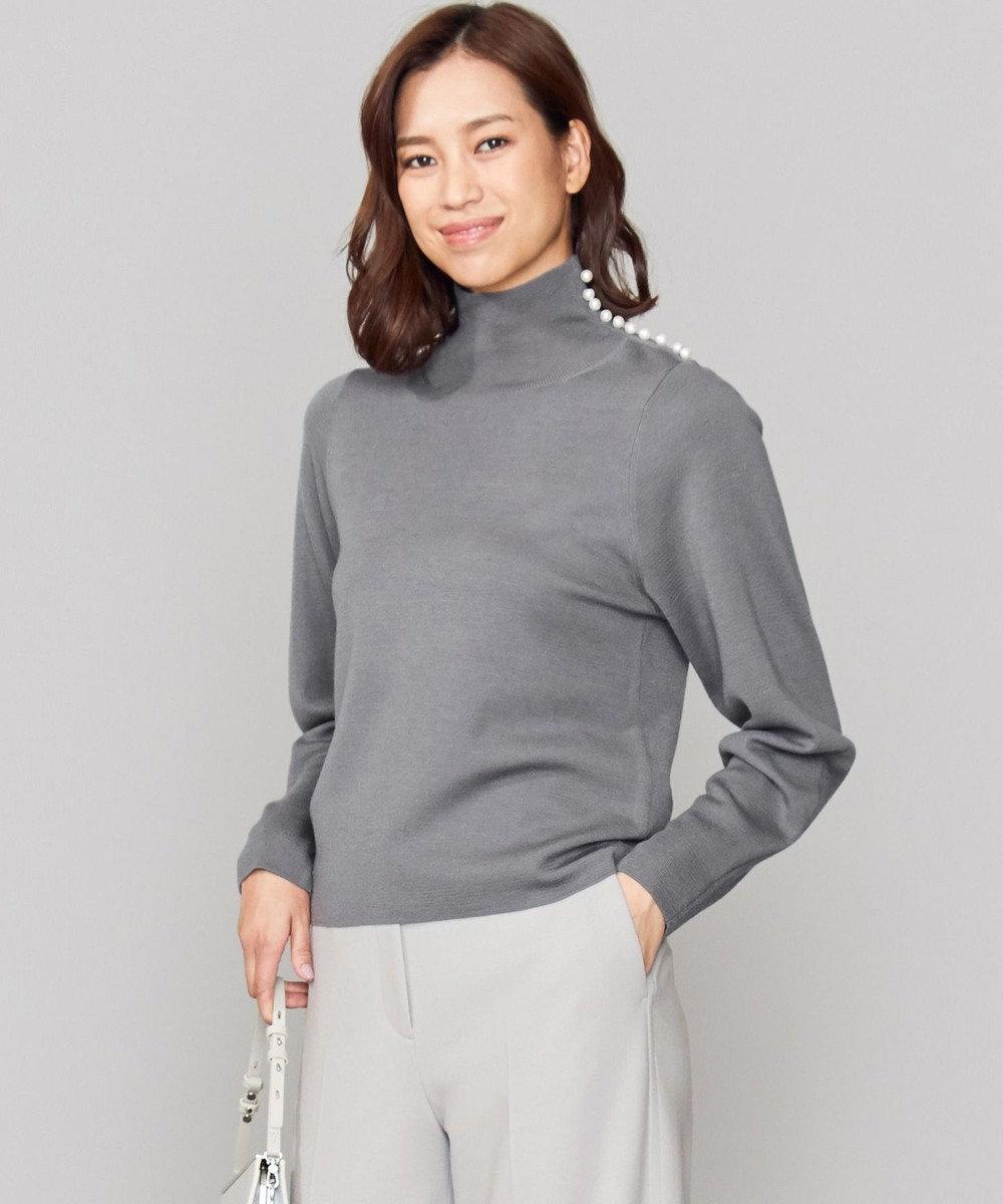 ICB L Wool Silk Mirano ハイネックパールニット グレー系