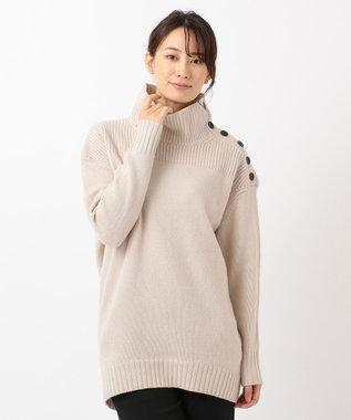 ICB L 【ニット人気投票第1位】Soft Cashmere Mix ボタンニット ベージュ系