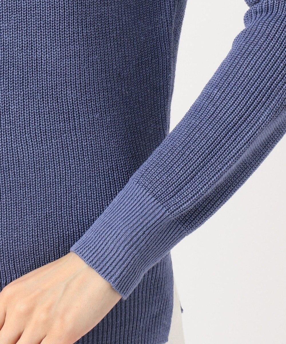 ICB L Linen Half Cardigan ニット ダルブルー系