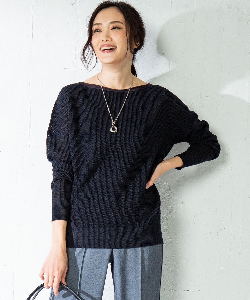 ICB L Linen Half Cardigan ニット ネイビー系