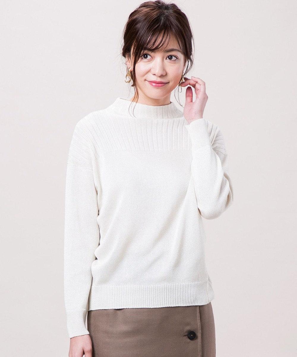 ICB 【店頭売れ筋】Siltex Cotton スタンドネック ニット アイボリー系