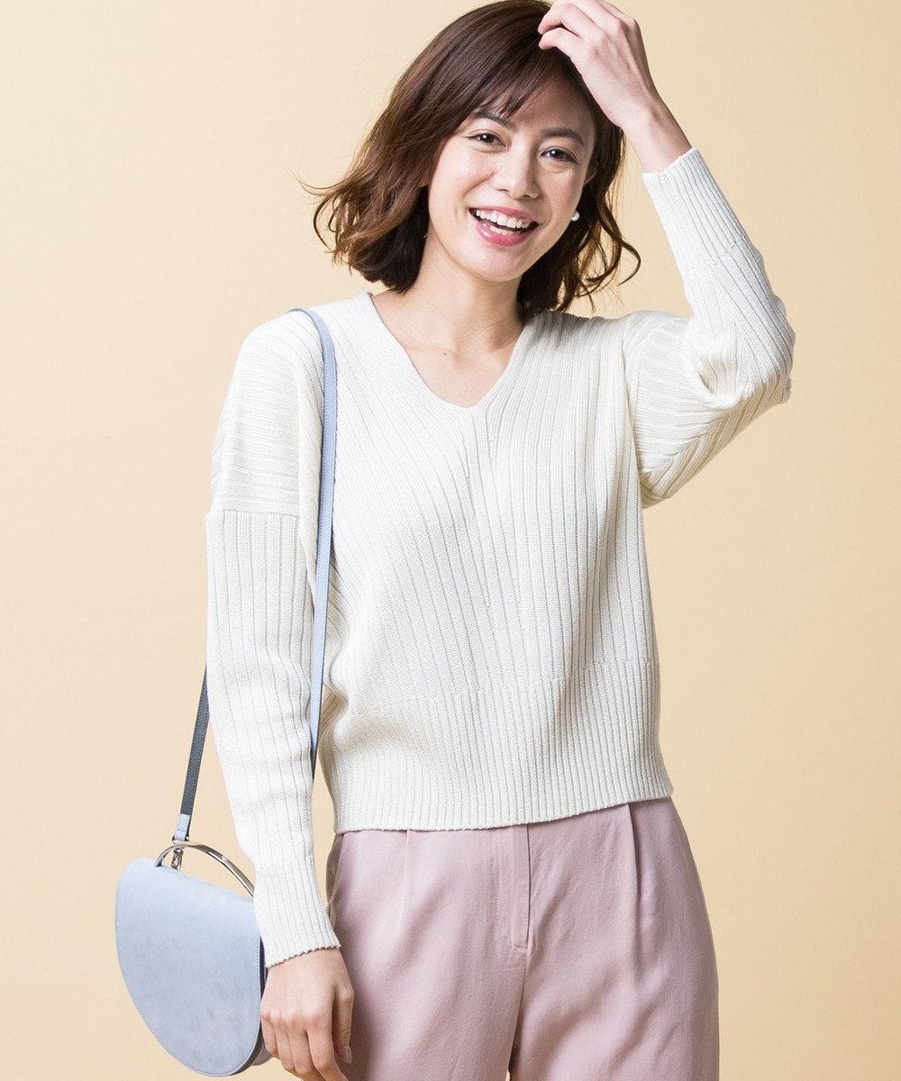 ICB 【店頭売れ筋】Siltex Cotton Vネック ニット アイボリー系