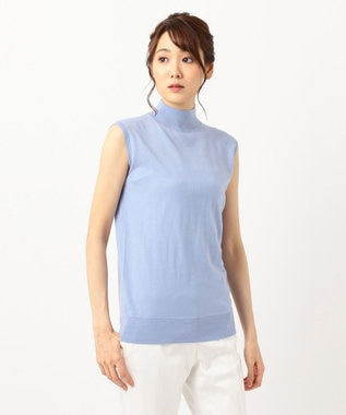 ICB L 【洗える】Compact Wool ノースリーブニット サックスブルー系