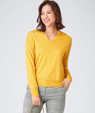 ICB L 【シルク&カシミヤ混】Wool Silk Cashmere Vネックニット マスタード系