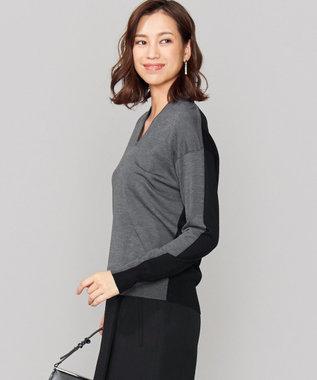 ICB L 【シルク&カシミヤ混】Wool Silk Cashmere Vネックニット グレー系7
