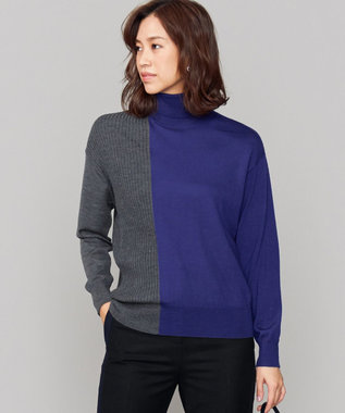 ICB L Bicolor Wool タートルネックニット ブルー系7