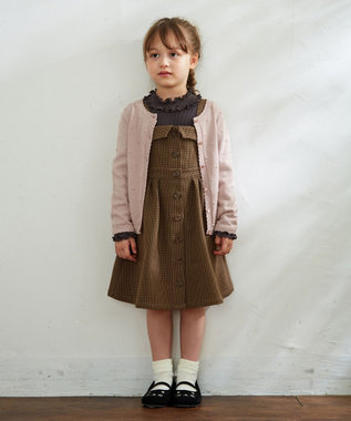 any FAM KIDS 【110-130cm】膨れドットニット カーディガン ピンク系