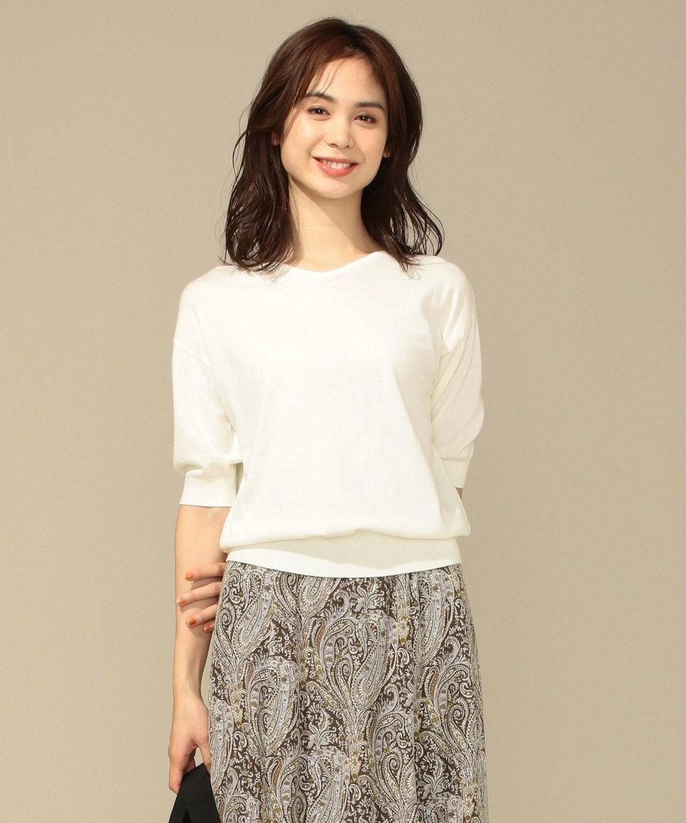 any FAM 【前後着用可】ニットTシャツ プルオーバー オフホワイト