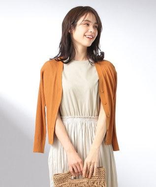any FAM L 【UVケア】【抗菌防臭】マルチファンクションリブニット カーディガン オレンジ系