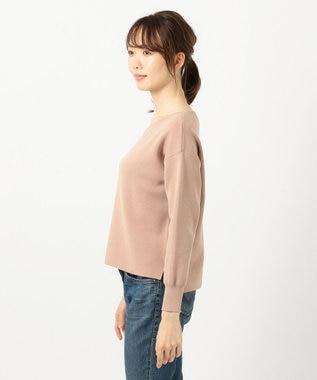 any FAM L 【洗える】ミラノリブアシンメトリーネック プルオーバー ピンクベージュ