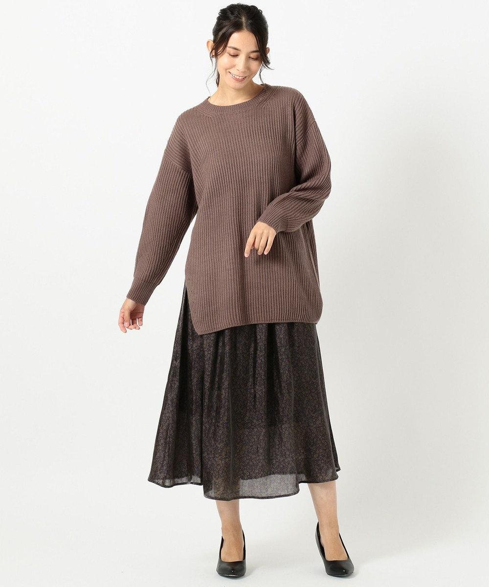 any FAM 畦ニットフラワースカート セット ブラウン系