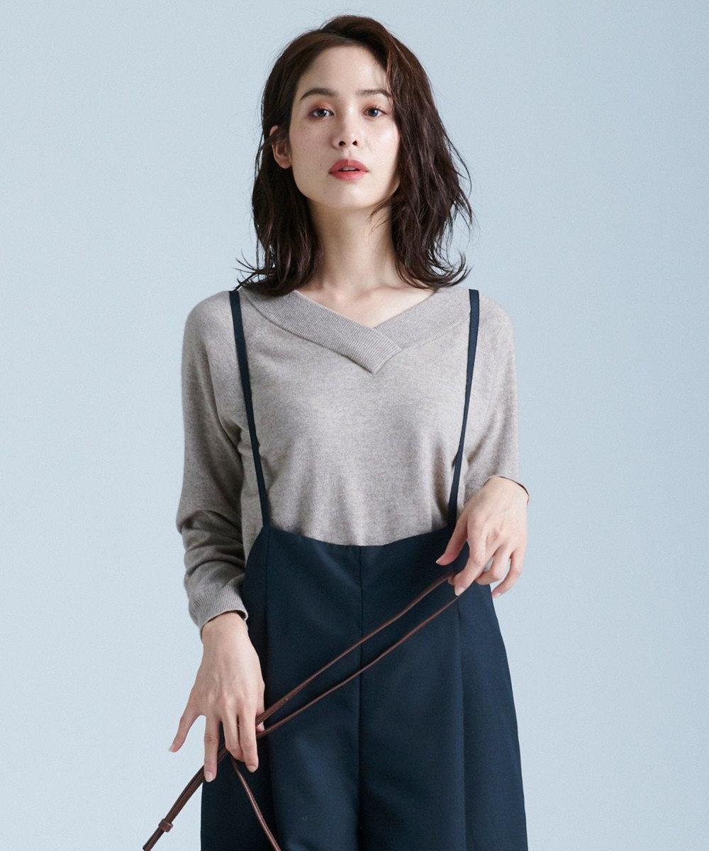 any FAM L 【洗える】カシミヤブレンド2WAY ニット ダークブラウン系