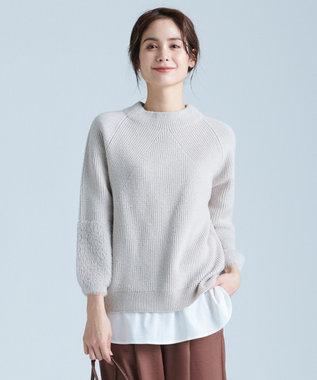 any FAM 【定番人気】フェザーコンビ ニット ホワイト系