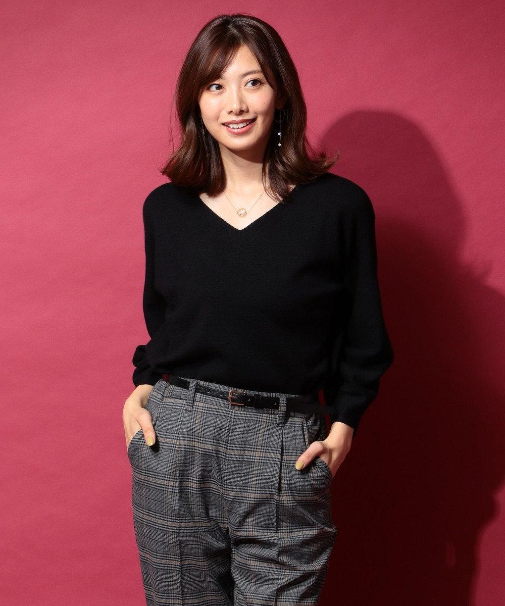 any FAM 【洗える】レーヨンナイロンニット プルオーバー ブラック系