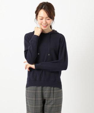 any FAM 【洗える】ニットフ-ディー パーカー ネイビー系