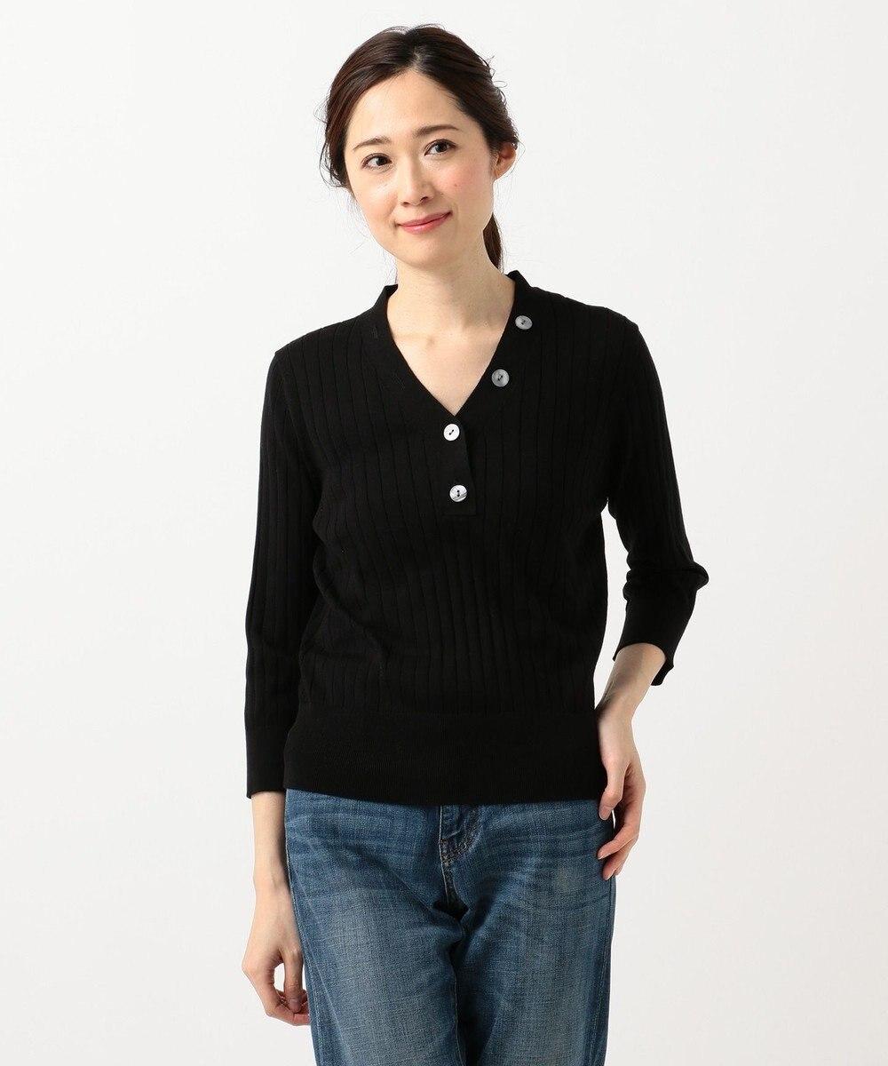 any FAM L 【UVケア・洗える】ニットTシャツ プルオーバー ブラック系