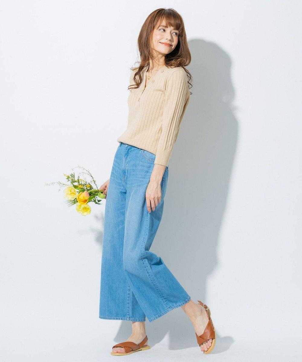 any FAM L 【UVケア・洗える】ニットTシャツ プルオーバー ベージュ系
