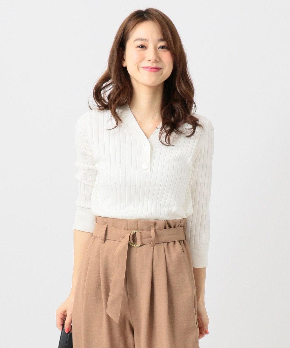 any FAM L 【UVケア・洗える】ニットTシャツ プルオーバー ホワイト系