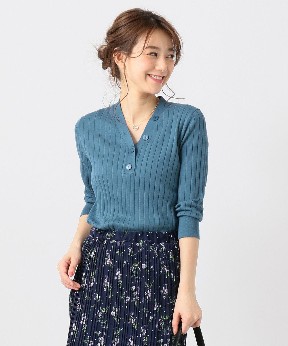 any FAM L 【UVケア・洗える】ニットTシャツ プルオーバー ライトグリーン系