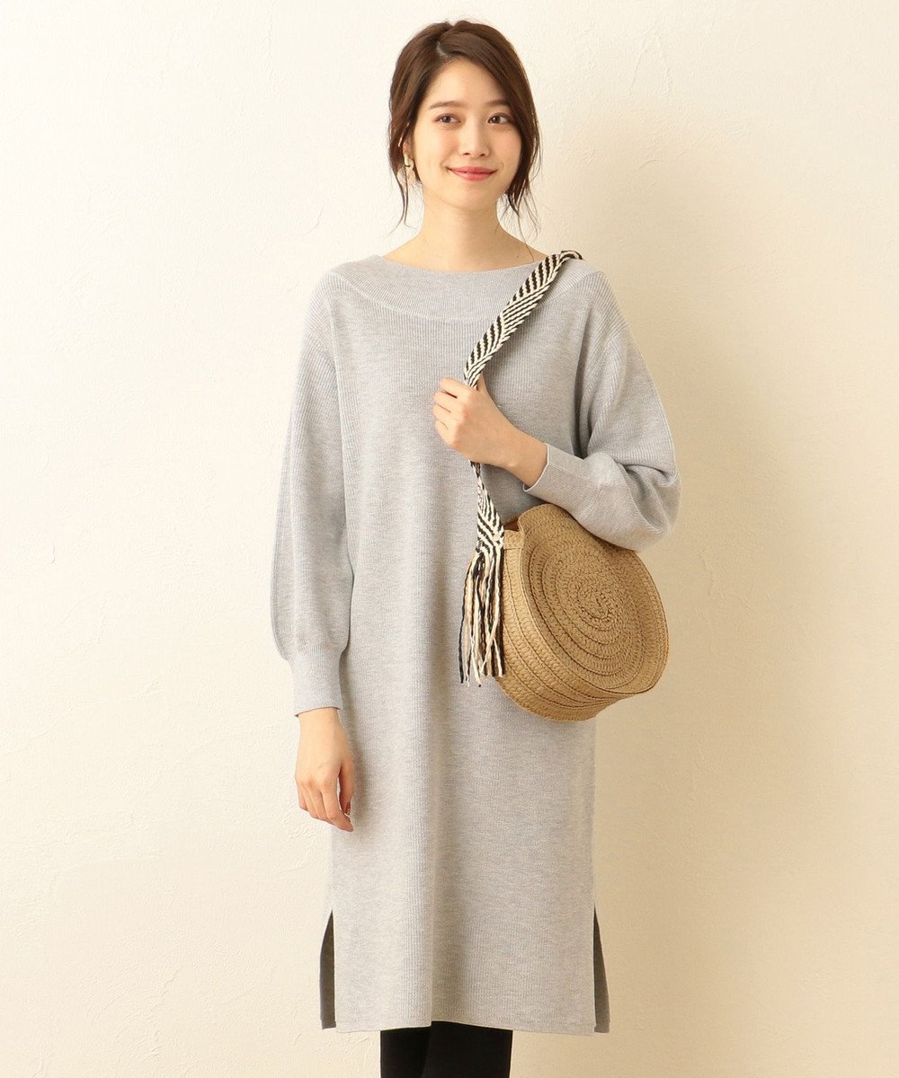 any FAM 片畦 ニットワンピース ライトグレー系
