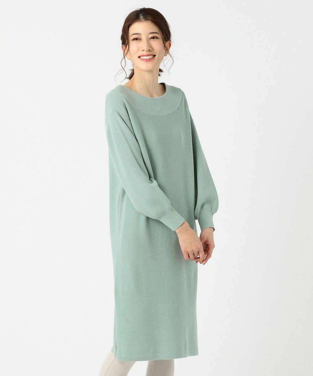 any FAM 片畦 ニットワンピース グリーン系