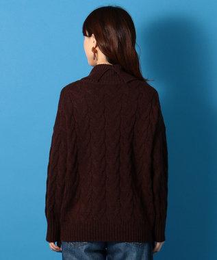 any FAM 【洗える】ラムケーブルタートルニット プルオーバー ダークブラウン系