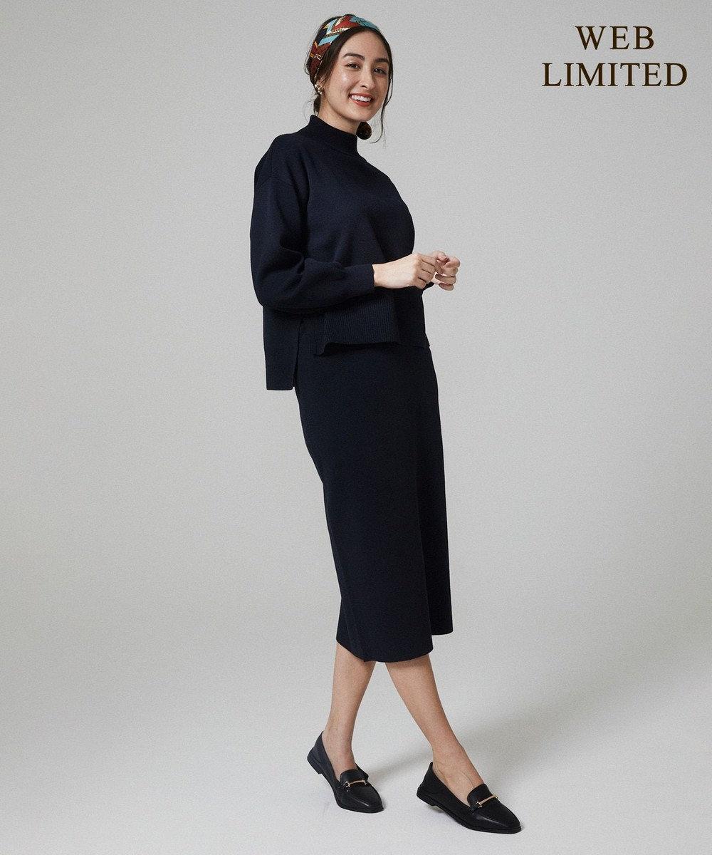 any FAM 【WEB限定】ニットタイトスカート セットアップ ネイビー系