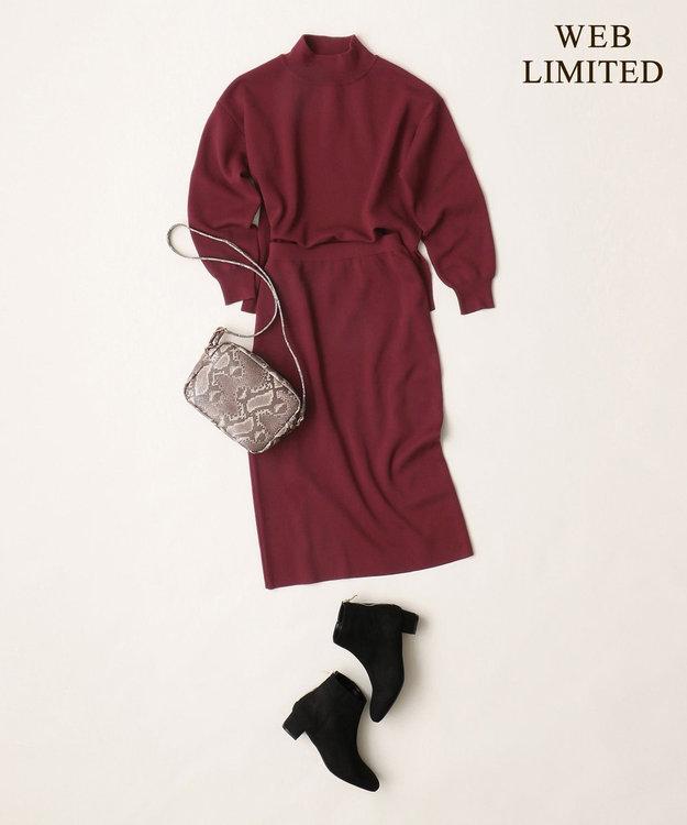 any FAM L 【WEB限定】ニットタイトスカート セットアップ パープル系