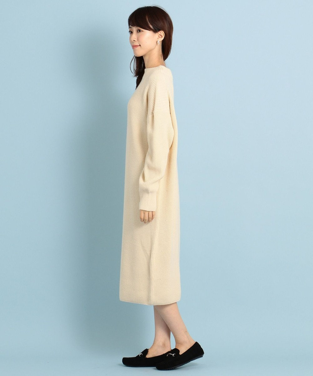 any FAM 【洗える】ウールブレンドバルキー ニットワンピース アイボリー系