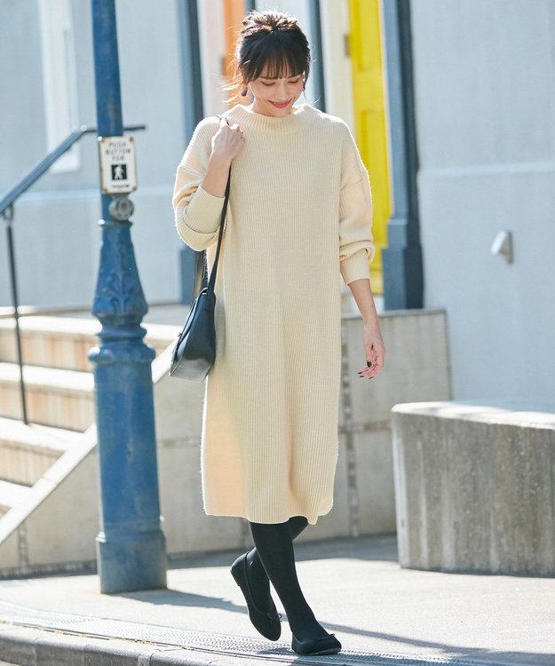 any FAM 【洗える】ウールブレンドバルキー ニットワンピース