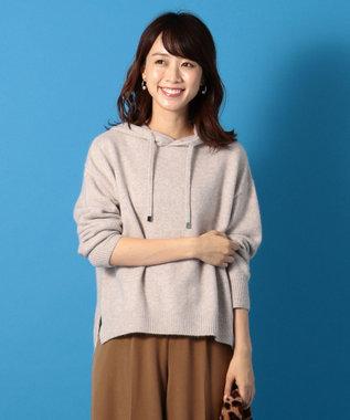any FAM 【洗える】アンゴラファンシーニット パーカー ブラウン系