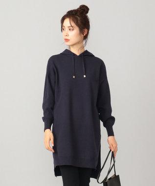 any FAM 【洗える】チュニックニット フーディー ネイビー系