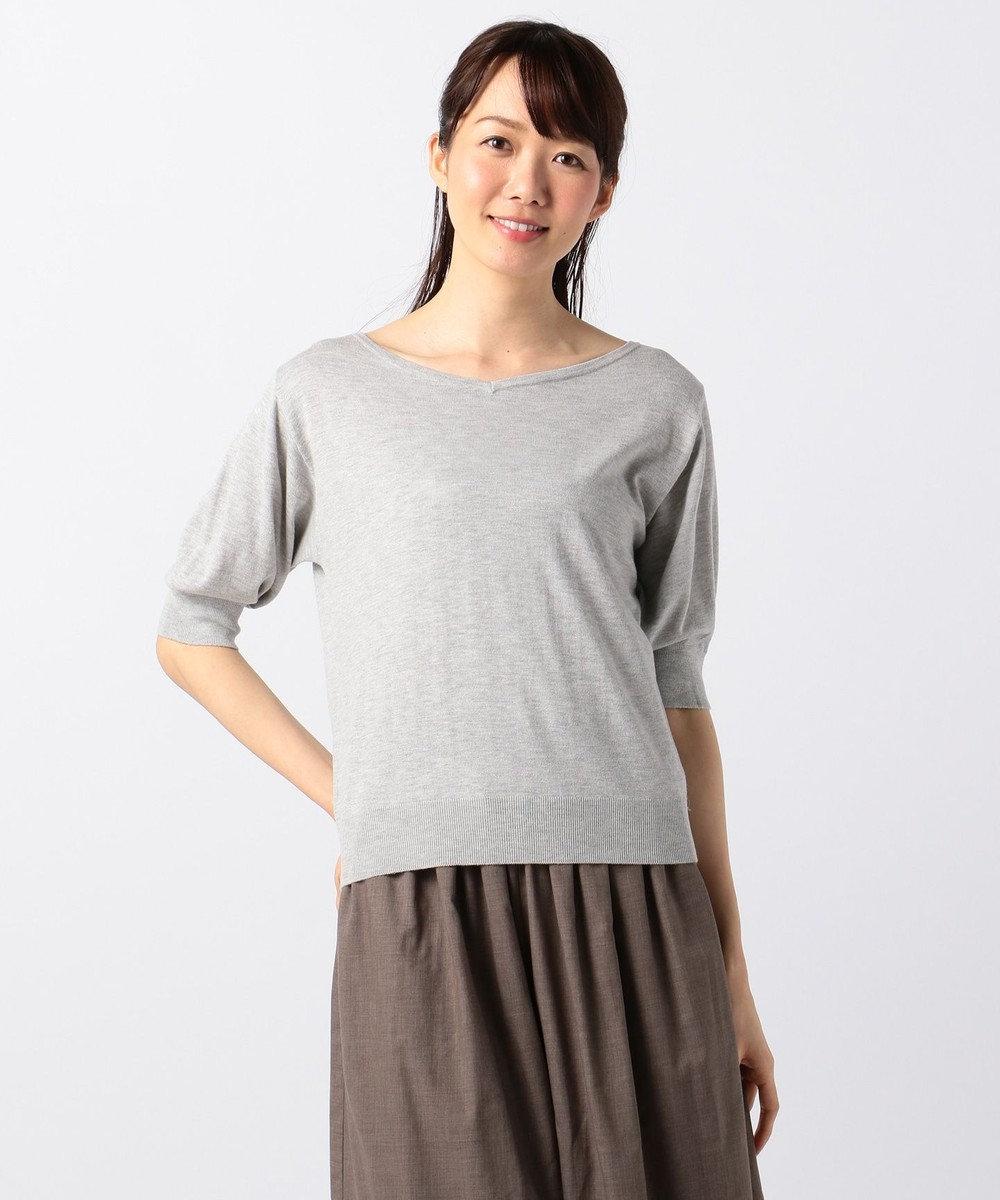 any FAM 【UVケア】パフスリーブニット Tシャツ ライトグレー系