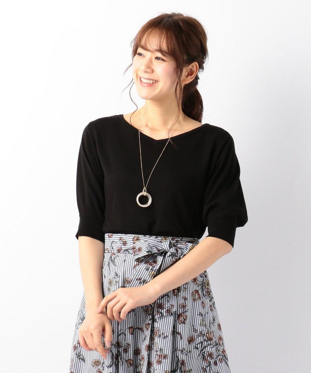 any FAM 【UVケア】パフスリーブニット Tシャツ ブラック系
