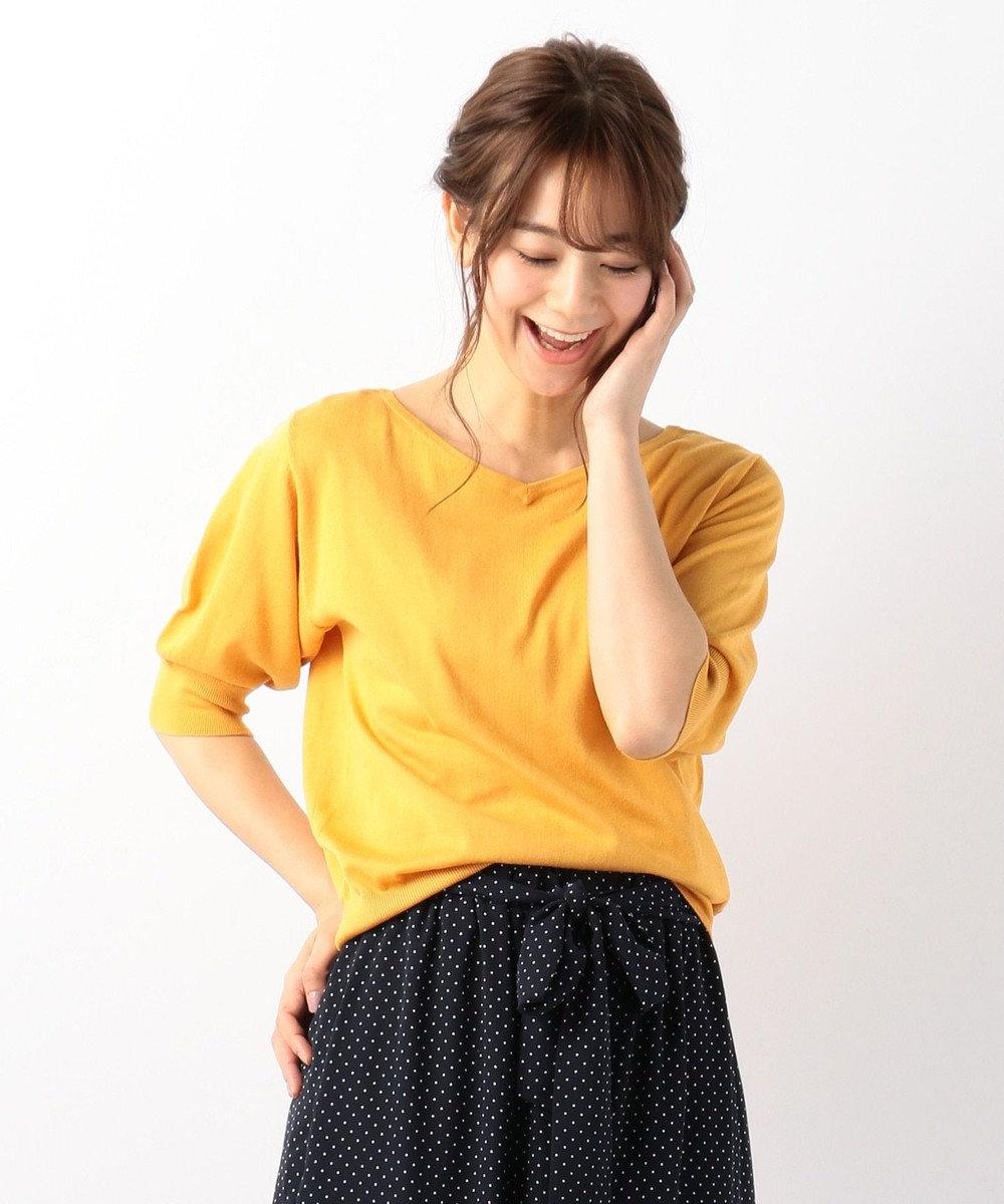 any FAM 【UVケア】パフスリーブニット Tシャツ イエロー系
