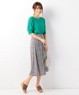 any FAM 【UVケア】パフスリーブニット Tシャツ グリーン系