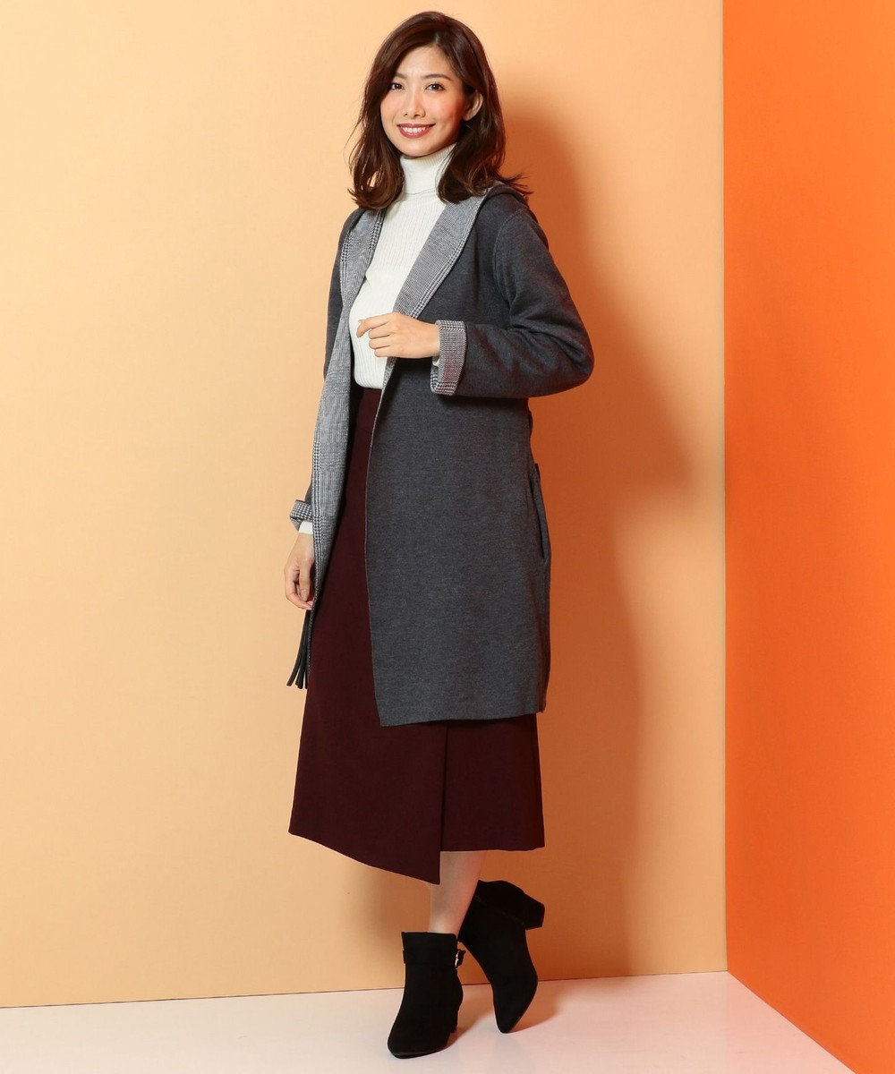 any FAM 【2WAY】グレンチェック×無地 リバーシブル コーディガン グレー系5