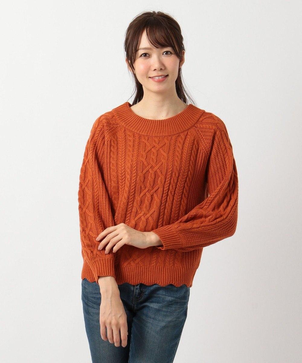 any FAM 【2WAY】裾スカラップ ケーブル ニット オレンジ系