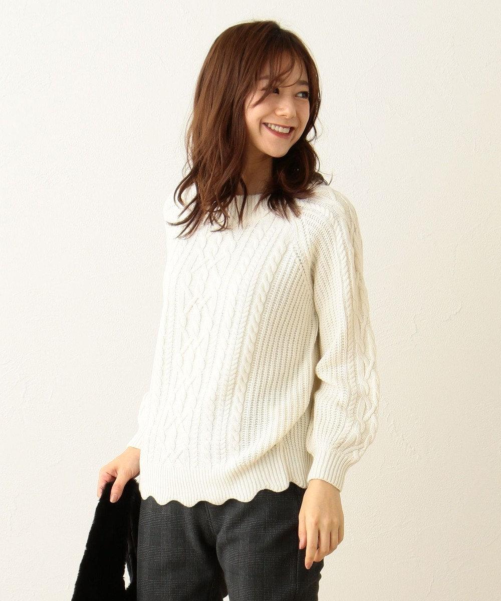 any FAM 【2WAY】裾スカラップ ケーブル ニット ホワイト系