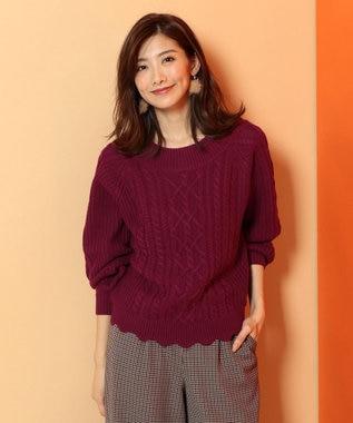 any FAM 【2WAY】裾スカラップ ケーブル ニット ローズ系