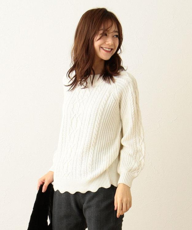 any FAM 【2WAY】裾スカラップ ケーブル ニット