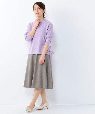 J.PRESS LADIES S 【洗える!】コットン畦 裾リボンニット パープル系