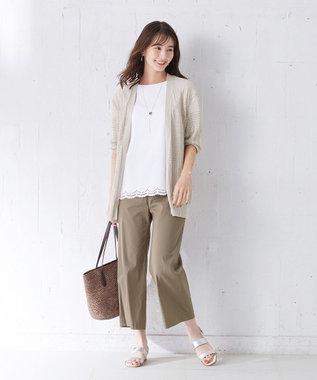 J.PRESS LADIES S 【WEB限定】レーシーパターン ロングカーディガン ベージュ系