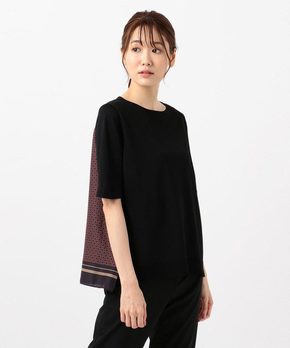 J.PRESS LADIES S 【洗える】レーヨンストレッチ 前後切替半袖 ニット ブラック系