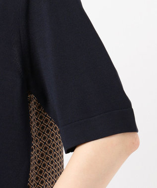 J.PRESS LADIES S 【洗える】レーヨンストレッチ 前後切替半袖 ニット ネイビー系