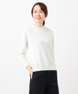 J.PRESS LADIES L 【洗える】コットン片畦 ニット ホワイト系